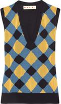 Marni Intarsia Wool And Silk-blend Tank - Blue