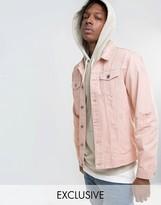 Mennace Denim Jacket With Abrasions In Light Pink