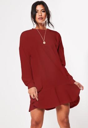 Missguided Burgundy Frill Hem Sweater Dress