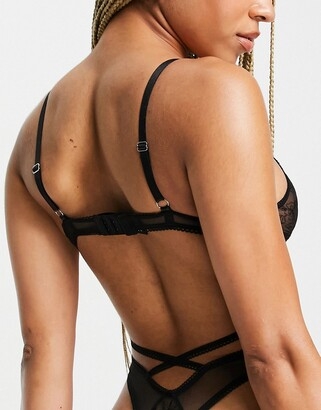 Lost Ink floral mesh cut out thong bodysuit in black