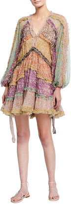 Zimmermann Carnaby Frill Blouson-Sleeve Dress