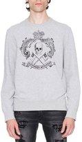 Alexander McQueen Skull Crest Sweatshirt, Gray/Black