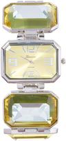 Geneva Platinum Silvertone Radiant-Cut Rhinestone Bracelet Watch