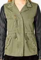 Forever 21 Faux Leather Sleeve Utility Jacket
