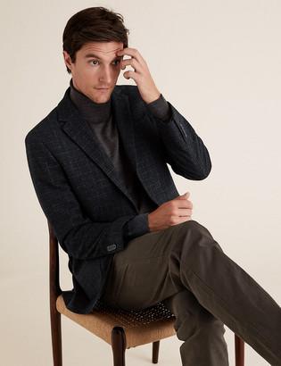 Marks and Spencer Regular Wool Checked Blazer