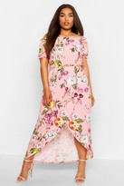 boohoo Plus Floral Off Shoulder Maxi Dress