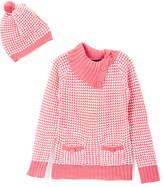 Dollhouse Coral & White Button Cowl Neck Sweater & Beanie - Toddler & Girls