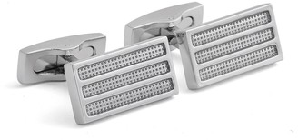 Hart Schaffner Marx Rhodium Plated Enamel Inset Rectangle Cuff Links