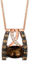 LeVian Le Vian Chocolatier® Chocolate Quartz® (2 ct. t.w.) & Diamond (3/8 ct. t.w.) Pendant Necklace in 14k Rose Gold