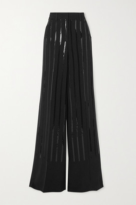 Akris Floyd Sequined Silk-blend Crepe Wide-leg Pants - Black