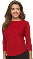 Dana Buchman Petite Mitered-Stripe Crewneck Sweater
