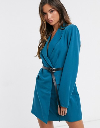 4th + Reckless blazer dress with contrast pu belt in teal