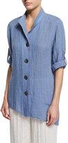 Caroline Rose Crinkled Linen Angled Shirt, Blue Mist, Plus Size