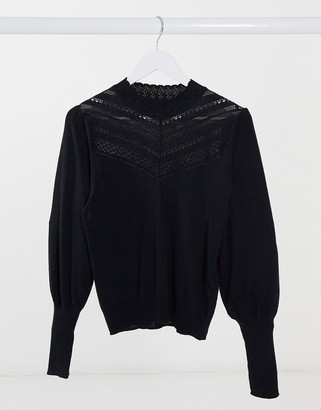 Forever New lace yolk balloon sleeve jumper in black