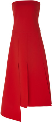 A.W.A.K.E. Mode Asymmetric Cady Strapless Midi Dress