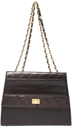 Chanel Dark Brown Quilted leather Vintage Shoulder Strap