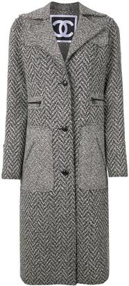 Chanel Pre Owned 2008 Herringbone Tweed Long Coat