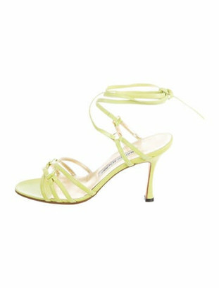Manolo Blahnik Anna Leather Cross-Over Sandals Lime