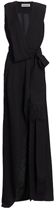 Monse Deep V-Neck Power Shoulder Slit Wrap Gown