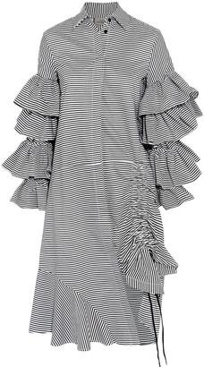 Preen by Thornton Bregazzi Shona Ruffled Lace-up Cotton-poplin Midi Dress