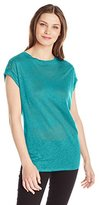 Calvin Klein Women's Slubbed Linen Top with Eyelet
