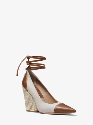 Michael Kors Sari Canvas and Leather Pump
