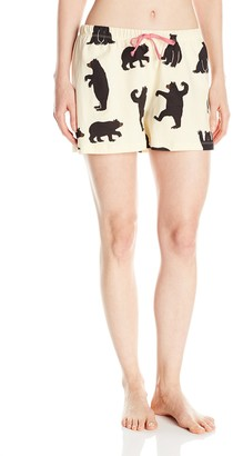 Off-White Hatley Women's Black Bears On Natural Boxer Pyjama Bottoms Cream) Medium