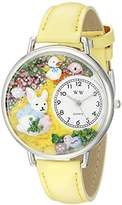 Whimsical Watches Easter Bunny Yellow Leather and Silvertone Unisex Quartz Watch with White Dial Analogue Display and Multicolour Leather Strap U-1220015