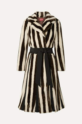 STAUD Bungalow Belted Striped Faux Fur Coat - Brown