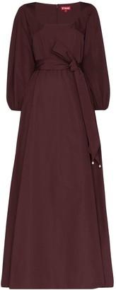 STAUD Scoop Neck Tie Detail Maxi Dress