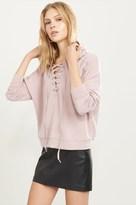 Dynamite Lace-Up Hoodie Sweatshirt