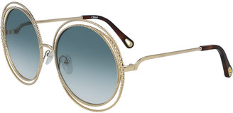 Chloé Round Concentric Metal Sunglasses
