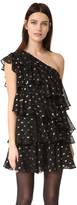 Cynthia Rowley Polka Dot One Shoulder Ruffle Dress
