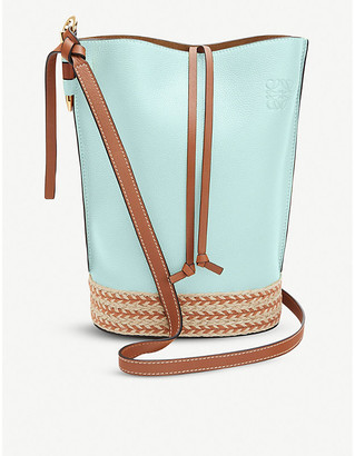 Loewe x Paula's Gate raffia and leather bucket bag