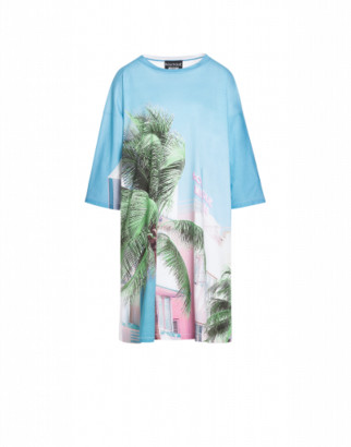 Boutique Moschino Beach Palms Jersey Dress Woman Blue Size 38 It - (4 Us)
