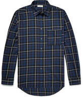 Public School Trin Checked Brushed-cotton Twill Shirt - Blue
