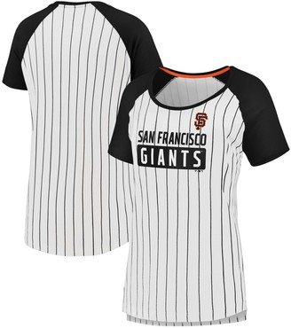 Women's Fanatics Branded White/Black San Francisco Giants Plus Size Iconic Pinstripe Raglan T-Shirt