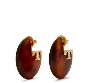 Tory Burch Applied Logo Resin Hoop Earring