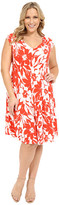 London Times Plus Size Monotone Petals Fit and Flare