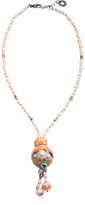 Antica Murrina Veneziana Papaya 3 Orange Pendant Necklace w/Pastel Murano Glass Beads
