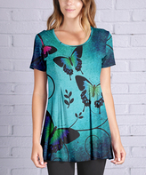 Lily Blue & Turquoise Butterflies Scoop Neck Tunic - Plus Too