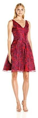 Aidan Mattox Aidan Women's Printed Organza V Neck Party Dress