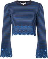 Derek Lam 10 Crosby Bell Sleeve Cropped Top With Eyelet Embroidery