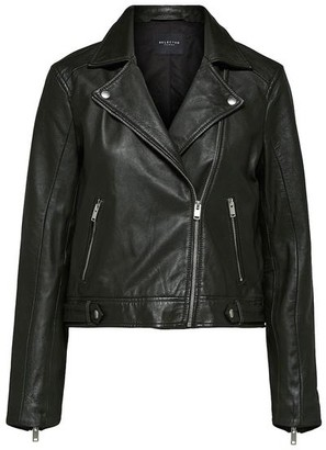 Selected Katie Leather Jacket Rosin Black - 36