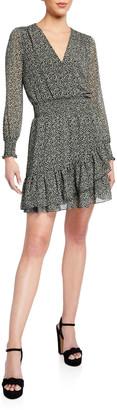 MICHAEL Michael Kors Printed Long-Sleeve Tiered Ruffle Dress