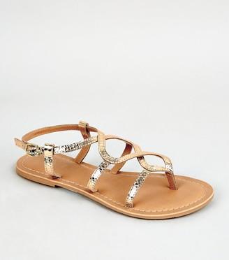 New Look Girls Leather Twist Strap Sandals