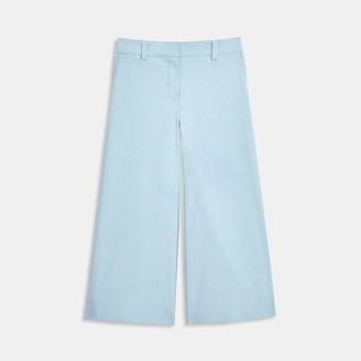 Theory Wide Cropped Trouser in Cotton-Silk