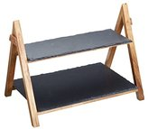 Kitchen Craft MasterClass Artesà Acacia Wood and Slate Two Tier Serving Stand, 40 x 30 x 25 cm