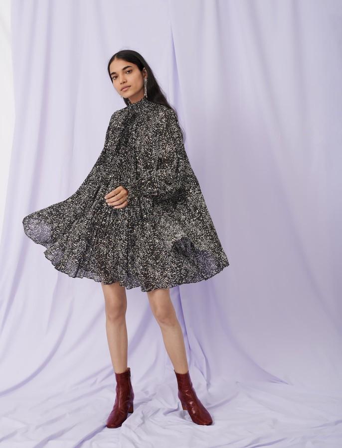 Maje Printed jacquard dress with ruffles