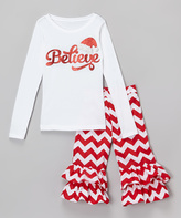 Beary Basics White & Red 'Believe' Tee & Ruffle Pants - Toddler & Girls